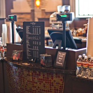 Elevate Cafe point of sale granite counter with tile