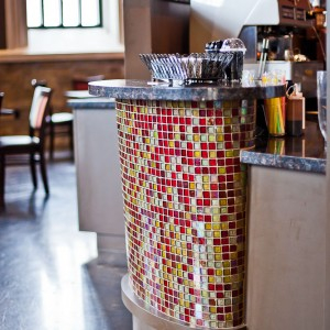Elevate Cafe granite counters with tile work