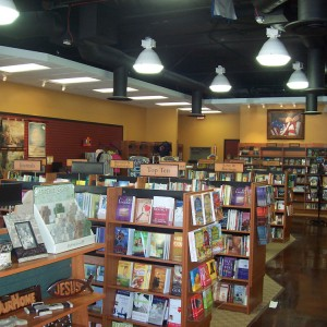Retail book store shelving slat wall and displays