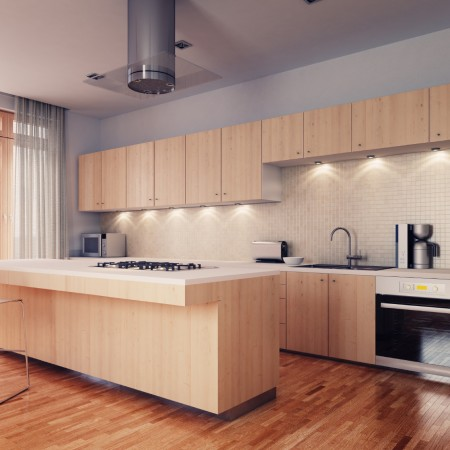 Modern kitchen cabinets light stain